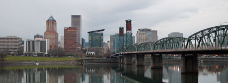 A view of downtown Portland from across a river
