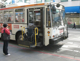 Disabled person boarding the muni